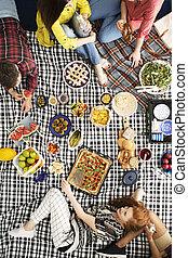 amici, mangiare, frutte