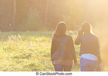 amici, parco, due, femmina