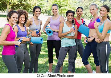 amici, parco, sportivo, femmina
