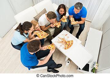 amici, pizza, mangiare, gruppo