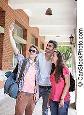 amici, presa, gruppo, selfie, felice