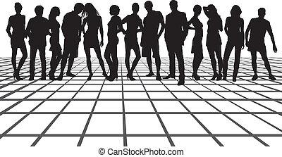 amici, quadrato, gruppo