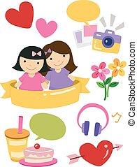 amici, ragazza, elementi, disegno