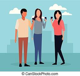 amici, riunione, cartone animato