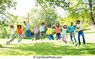 amici, saltare, parco