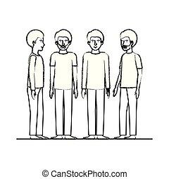 amici, uomini, gruppo, caratteri