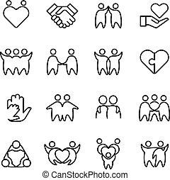 amicizia, amico, amico, gaio, isolato, icons., simboli, armonia, linea, amichevole, contorno