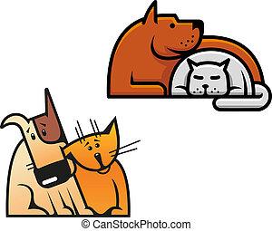 amicizia, cane, gatto