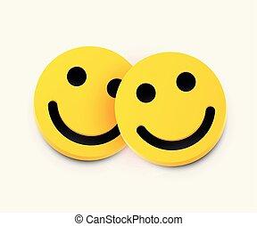 amicizia, concept., moderno, due, giallo, ridere, smiles.