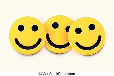 amicizia, concept., moderno, tre, giallo, ridere, smiles.