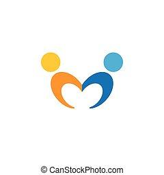 amicizia, empatia, dipendenza, bonding, vettore, logotipo, icona