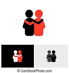amicizia, empatia, dipendenza, vettore, logotipo, bonding., icona
