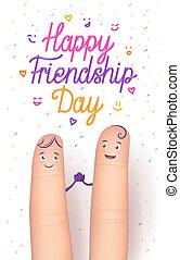amicizia, giorno, scheda, felice