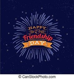 amicizia, poster., giorno, felice