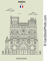 Amiens Cathedral in Amiens, France. Landmark icon in linear style