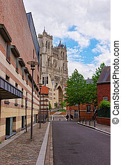 Street view on Amiens Cathedral of Notre Dame of Somme, Hauts de France