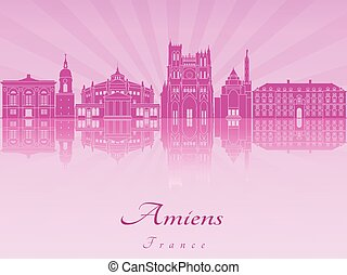 Amiens skyline in purple radiant orchid