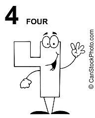 amigável, 4, número, esboçado