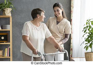 amigável, caregiver, suportar, sênior, paciente