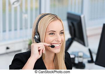 amigável, centro chamada, operador, ou, recepcionista