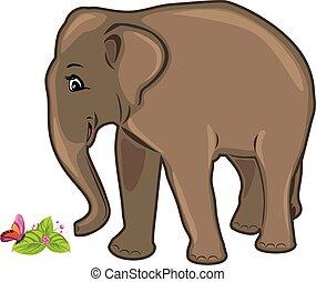 amigável, elefante