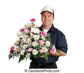 amigável, entrega flor, homem