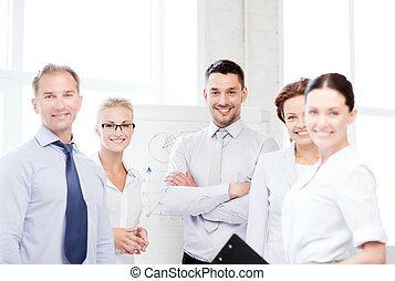 amigável, equipe negócio, em, escritório