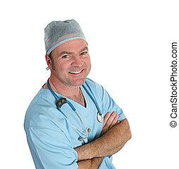 amigável, esfregações, doutor