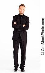 amigável, homem negócios, com, braços cruzados