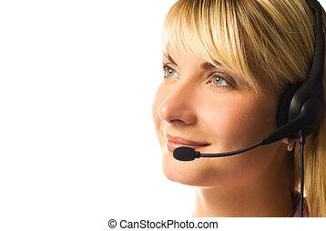 amigável, hotline, operador, isolado, branco, fundo