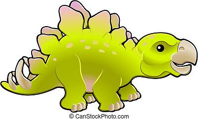 amigável, ilustração, cute, stegosaurus, vetorial