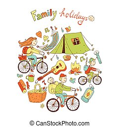 amigável, ilustração, família, vetorial, acampamento, equipar, redondo