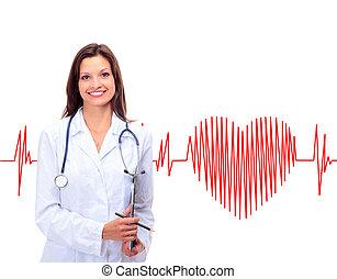 amigável, médico feminino