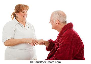 amigável, massage mão