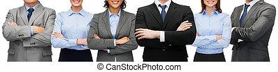amigável, negócio internacional, equipe, ou, grupo