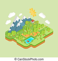 amigável, paisagem, natural, meio ambiente