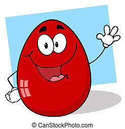 amigável, personagem, ovo páscoa, vermelho