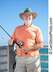 amigável, sênior, pescador