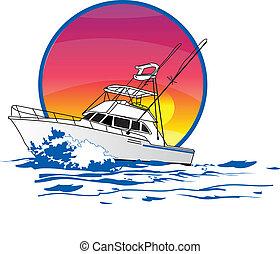 amigo, sportfisher, båd