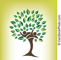 amigos, árbol, logotipo