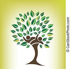 amigos, árvore, logotipo