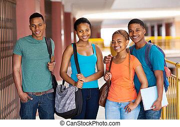 amigos, africano, colegio, grupo