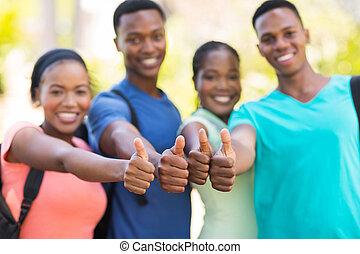 amigos, arriba, africano, pulgares, grupo, colegio