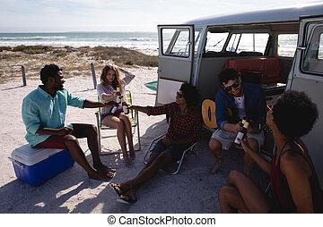 amigos, botellas, brindar, cerveza, grupo, playa