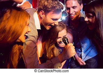 amigos, canto, feliz, juntos, karaoke