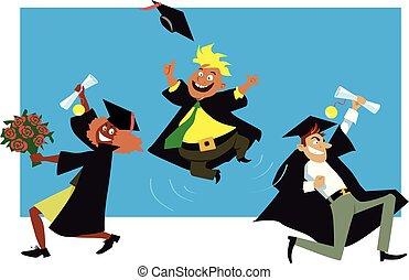 amigos, celebrar, graduación