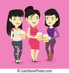 amigos, cerveja, desfrutando, grupo, pub.