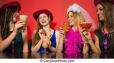 amigos, ciervo, teniendo, fiesta, charlar, stetsons, ...