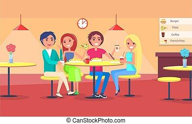 amigos, comer pizza, en, café, vector, parejas felices