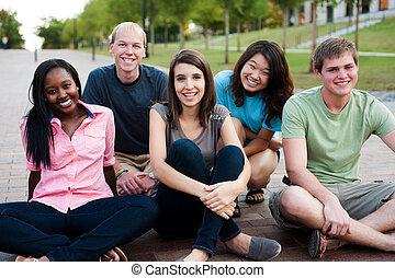 amigos, diverso, grupo